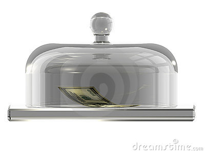 Dollars under the glass cover