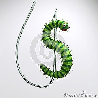 Dollars worm on hook