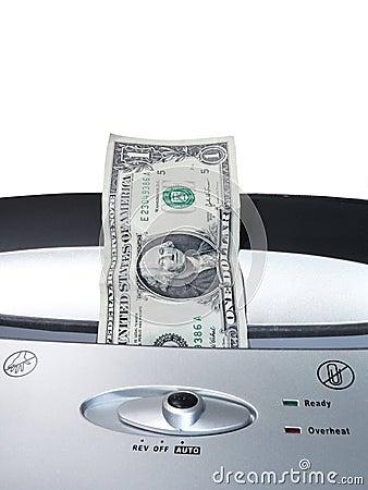 Dollarschein, der 2 zerreißt