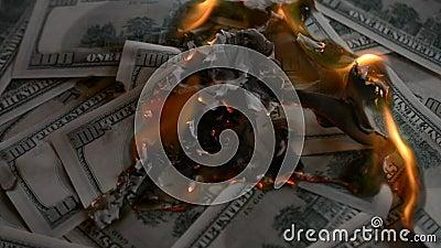 Dollarscheine setzten an Feuer und Brand stock video footage