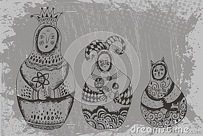 Dolls babushka in original image