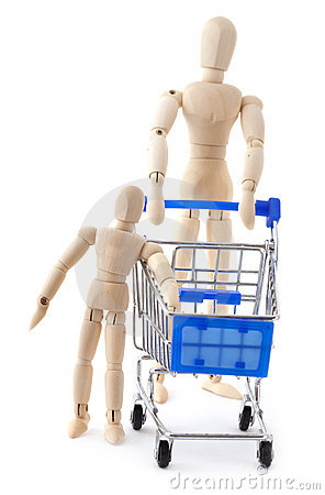 Free Dolls Family Go To Supermarket With Shopping Cart Stock Image - 16331361