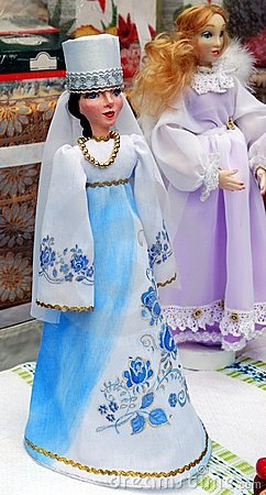 Dolls in national costumes. Editorial Stock Photo