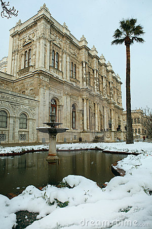 Dolmabahce Palace on a snowy day