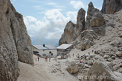 Dolomite Alps, Toni Demetz Alpine Hut Editorial Stock Photo