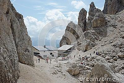 Dolomite Alps, Toni Demetz Alpine Hut Editorial Stock Photo