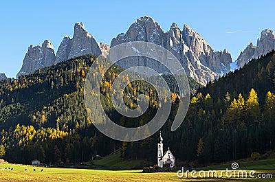 Dolomites mountain church