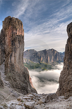 Dolomiti landscape with morning fog