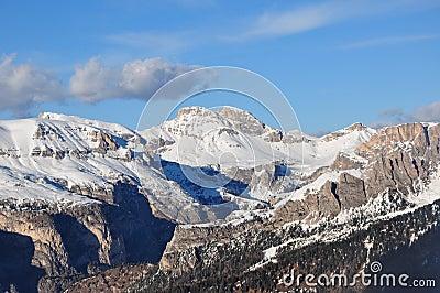 Dolomities Alps sun blue sky winter snow Italy Europe EU travel