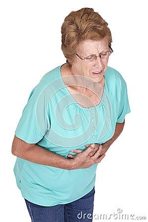 Dolor intestinal mayor del dolor de estómago de la mujer aislado