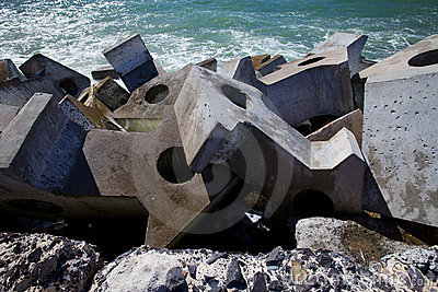 Dolos, concrete block geometric shape at sea
