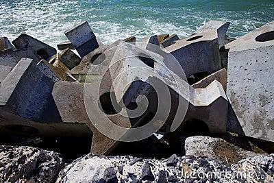 Dolos, concrete block geometric shape at sea
