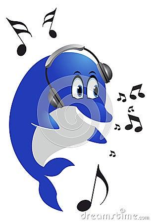 Dolphin with headphones