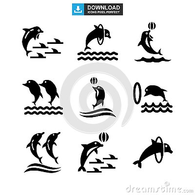Dolphin icon or logo isolated sign symbol vector illustration Vector Illustration