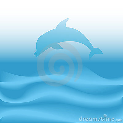 Dolphin Jumps Dives on Abstract Blue Ocean Waves