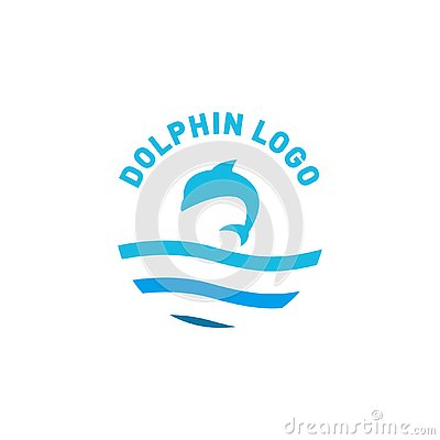 Dolphin logo design jump above a sea Vector Illustration