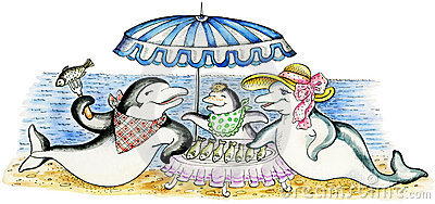 Dolphin`s family on beach picnic