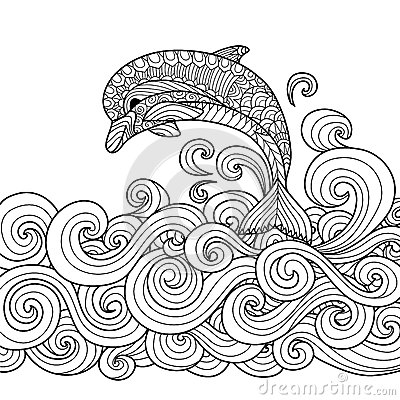 Free Dolphin Zentangle Royalty Free Stock Photos - 63317768