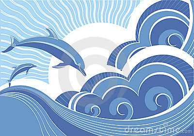 Dolphins in blue sea wave.