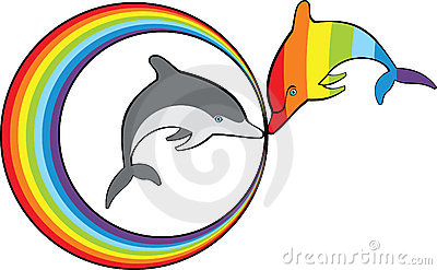 Dolphins and rainbow