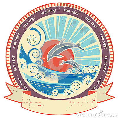Dolphins in sea waves.Vintage label and scroll for