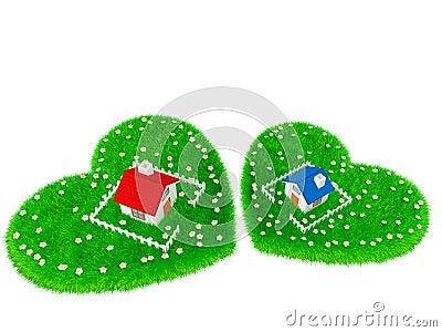 Dom lokalizuje na obszarze trawiastym w formie serca
