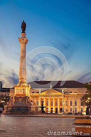 Dom Pedro IV square in Lisbon at dusk