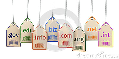 Domain concept. Labels on white isolated background.