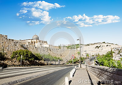 View from a road near the Al Aqsa Mosque in Jerusalem and the Mount of olives