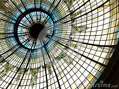Dome of the Palace Hotel in Madrid, Spain