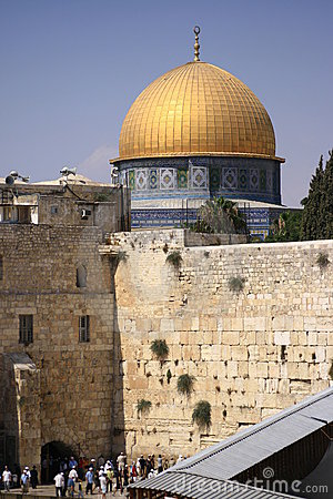 Dome of the Rock and Wailing Wall - Jerusalem Editorial Photography