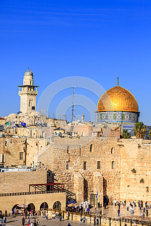 Dome of the Rock and the Western Wall in Jerusalem Editorial Stock Photo