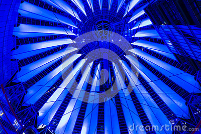 Dome Sony Center on Postadmer Platz to night light Editorial Stock Image
