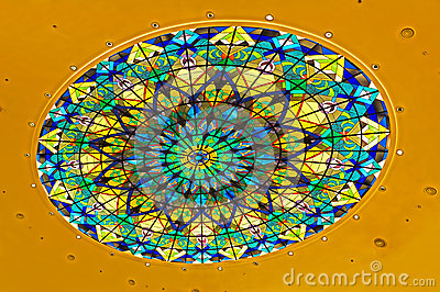 Dome with stained glass design