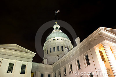 Domed building at night