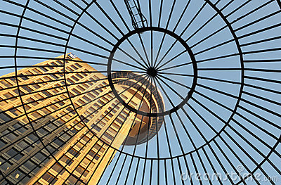 Domed glass roof of entrance to Emporis Building