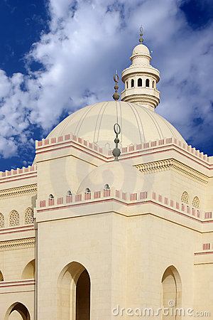 Domes and minaret of Al Fateh Mosque Bahrain