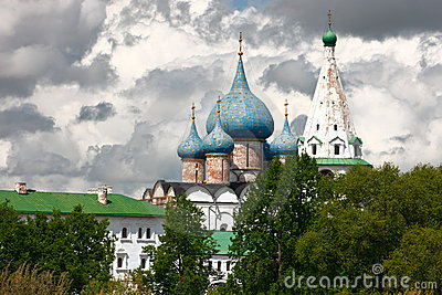 Domes of Nativity Cathedral. Suzdal, Russia.