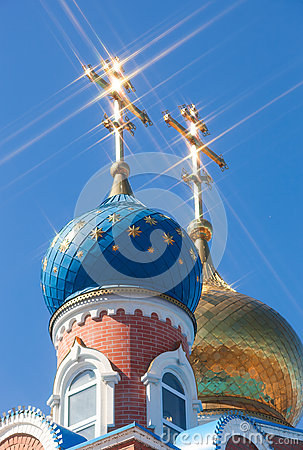 Free Domes Of Russian Orthodox Church With Cross Against Sky Stock Image - 53053861