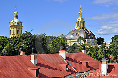 Domes in Peter and Paul Fortress, Saint-Petersburg