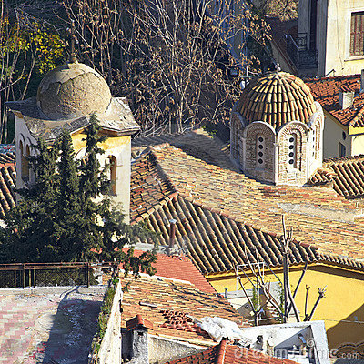 Domes and roofs at Plaka, Athens  old town