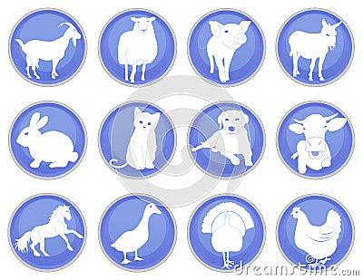 Domestic animals icon set 1