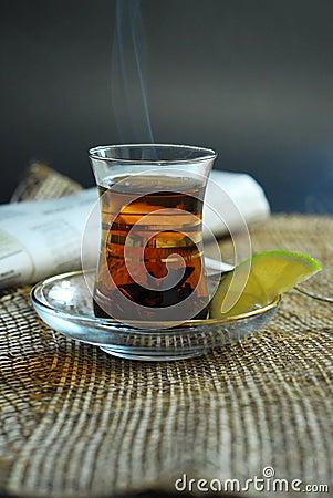Domestic hot tea with lemon