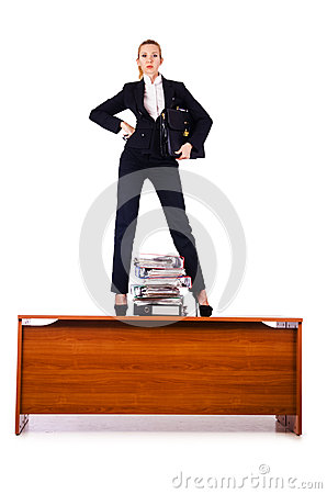Dominant woman boss  on desk