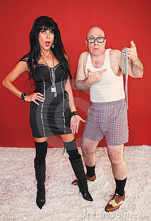 Dominatrix Woman and Scared Newcomer