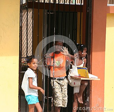 Dominican Children Editorial Stock Image