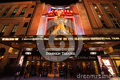 The Dominion Theatre at night Editorial Image