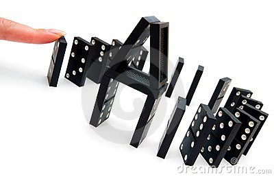 Domino effect. On white background.