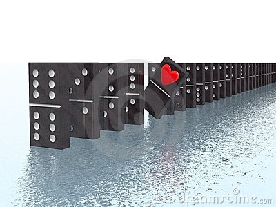 Domino with heart