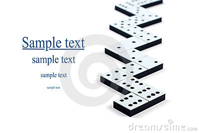 Domino pieces in a line or zigzag
